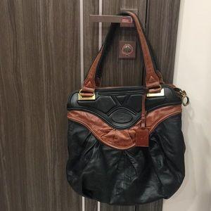 Zac Posen Black and Brown Zipped Satchel Bag